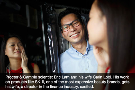 Procter & Gamble scientist Eric Lam and his wife Carin Looi. His work on products like SK-II, one of the most expensive beauty brands, gets his wife, a director in the finance industry, excited.