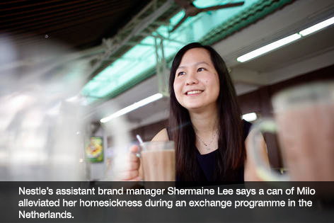 Nestle's assistant brand manager Shermaine Lee says a can of Milo alleviated her homesickness during an exchange programme in the Netherlands.